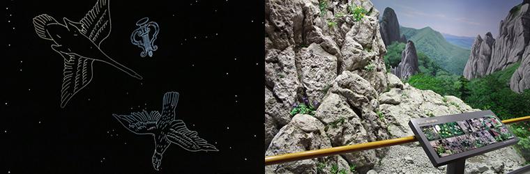 スタードームと崕山のジオラマ