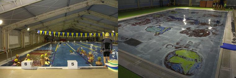 25mの一般用プール。10mで水深の浅い幼児用プール