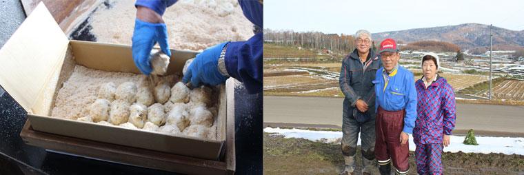 収穫されたゆり根はきれいに洗い、おがくずと一緒にていねいに箱詰めします。芦別市ゆり根生産組合 組合長・奥原茂さん、組合員のゆり根生産者・西澤榮次さんご夫妻。