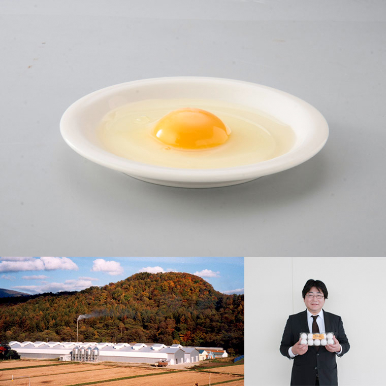 (上)新鮮なたまご(左下)末永農場の鶏舎(右下)代表取締役・末永真樹さん