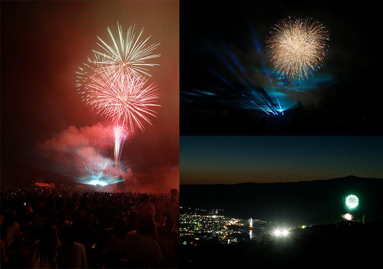 (左)会場を埋めつくす観客から歓声があがる、光と音の一大ページェント。(右上)レーザーと花火は色調などが計算されています。(右下)上金剛山展望台から見る花火は、ツウ好みの美しさ。